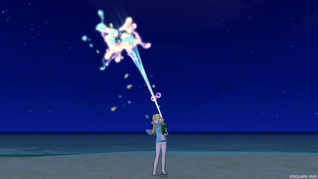 ドラクエ10 プレゼントのじゅもん しぐさ お祝いシャワー虹