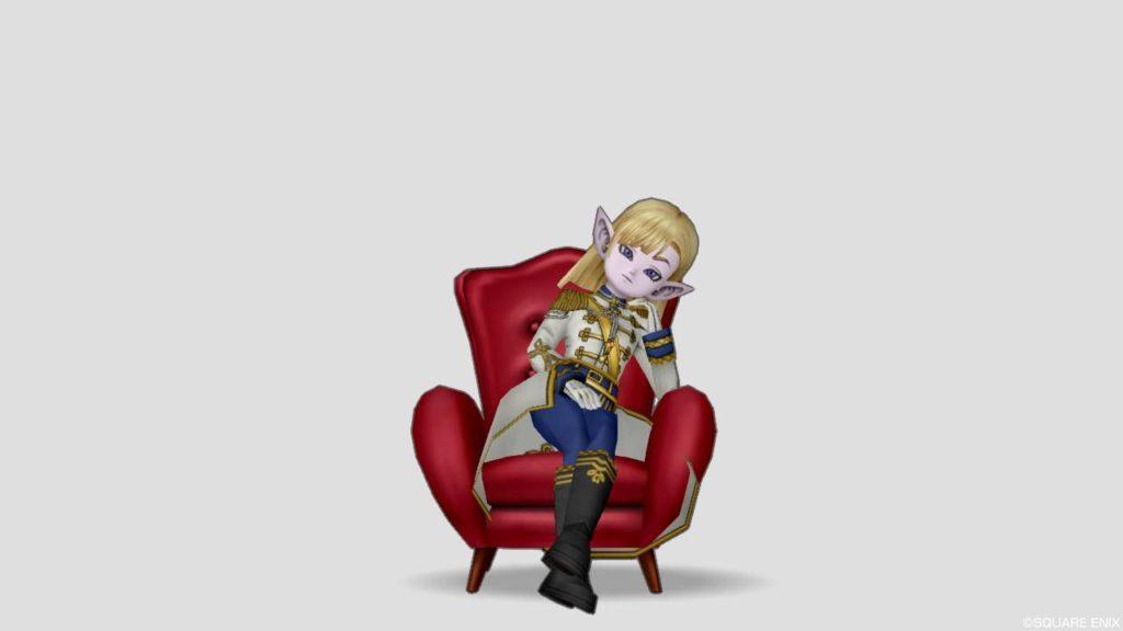 ドラクエ10 しぐさ 王者の居住まい 赤い ソファー 椅子 座る かっこいい 偉そう